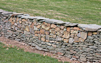 Repaired stone wall at Elway Hall, Warrenton, Virginia