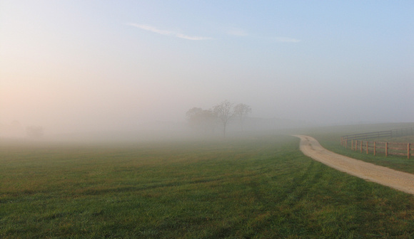Morning mist at Woodley Farm in Millwood, Virginia